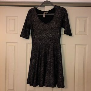 Black Sparkle Fit n' Flare Dress